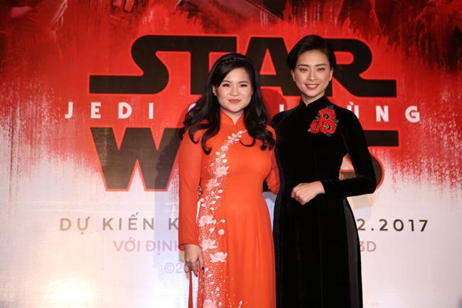 Kelly Trần và Ngô Thanh Vân trong buổi họp báo giới thiệu Star War 8