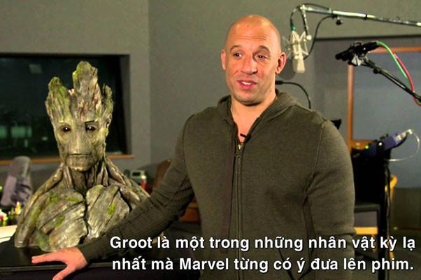 Vin Diesel lồng tiếng cho nhân vật Groot trong cả 2 phần của bộ phim