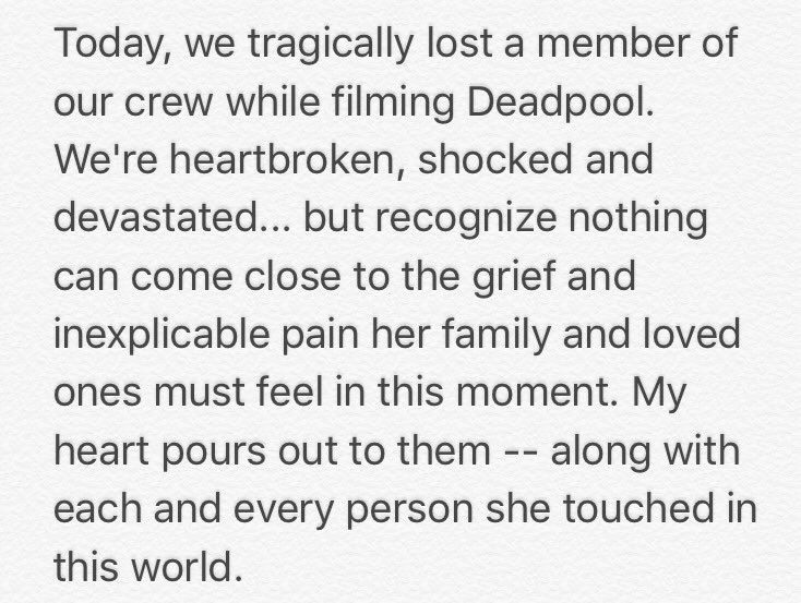 Nam diễn viên Ryan Reynolds bày tỏ sự thương tiếc đến gia đình, bạn bè của Harris